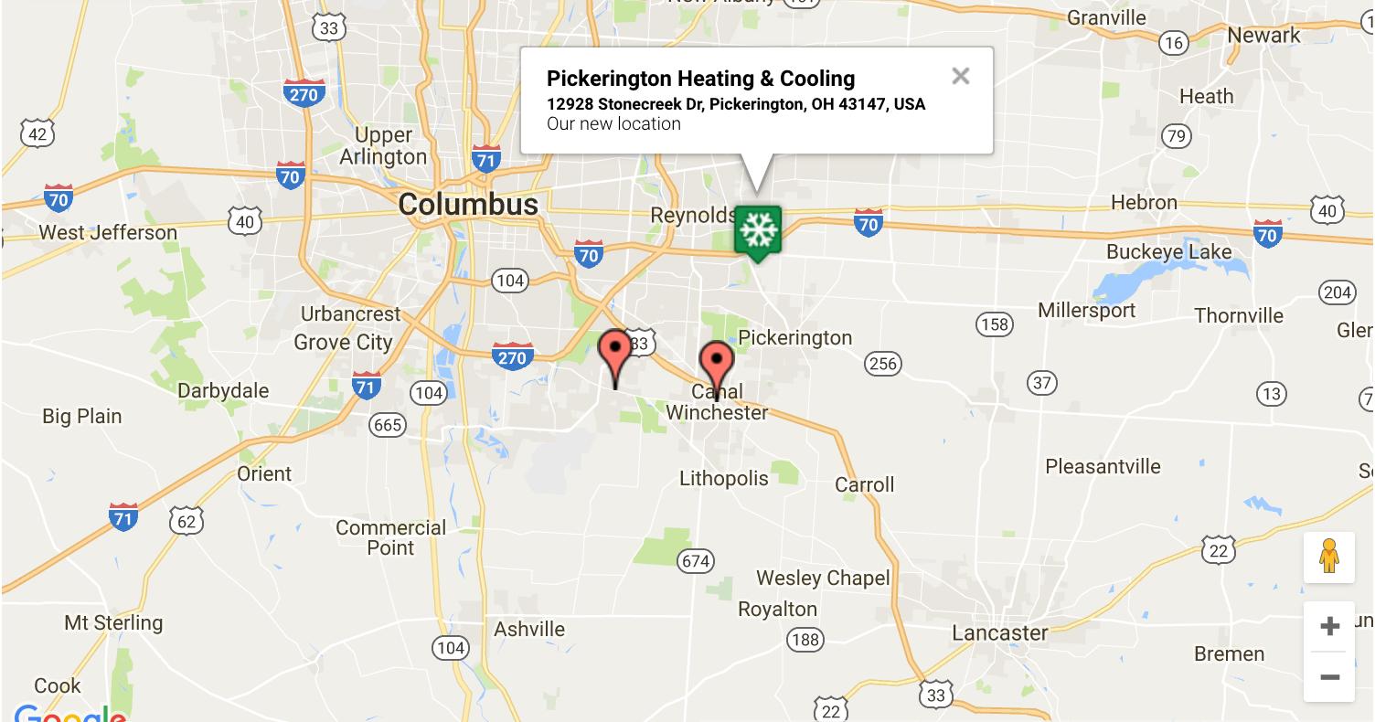 Pickerington Heating & Cooling location