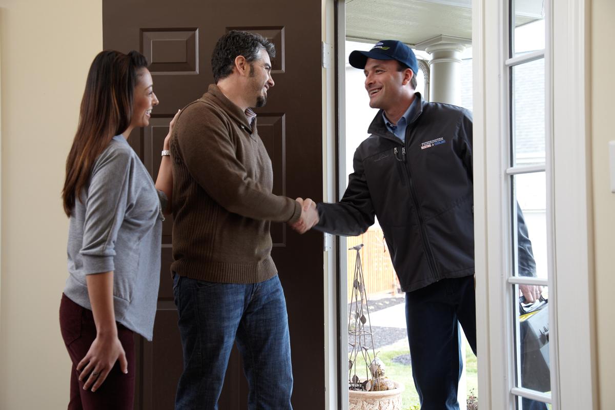 Pickerington Customers greet HVAC installer